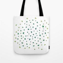 Jumping Green Shapes Tote Bag