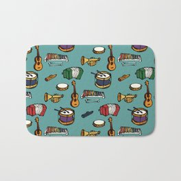 Toy Instruments on Teal Bath Mat
