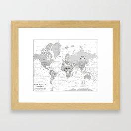 World Map [Black and White] Framed Art Print