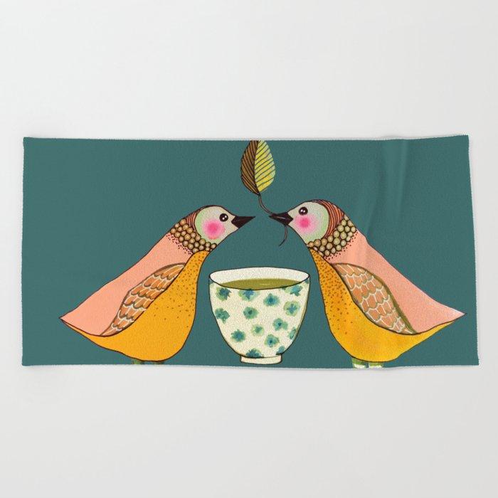 a tea for two Beach Towel