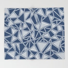 Abstract Outline Lines Navy Throw Blanket