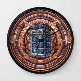 Aztec Tardis Doctor Who Full Color Pencils Sketch Wall Clock