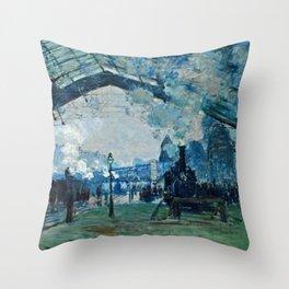 Claude Monet - Arrival Of The Normandy Train, Gare Saint Lazare Throw Pillow