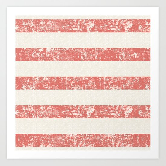 Maritime Beach Pattern- Red and White Stripes- Horizontal- Art Print