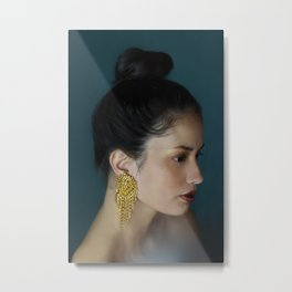 Woman with golden earring Metal Print