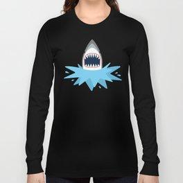 Cartoon Shark Splash Long Sleeve T-shirt