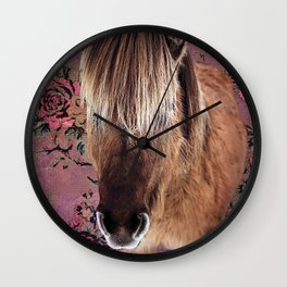 Icelandic pony with rosy posies Wall Clock