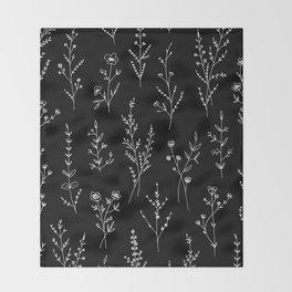 New Black Wildflowers Throw Blanket