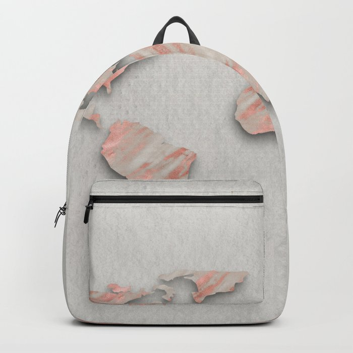 Rose Gold Marble World Map on paper Backpack