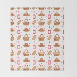 Modern brown pink hand painted watercolor picnic pattern Throw Blanket