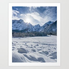 Sunny winter day at snowy frozen lake Fusine Art Print