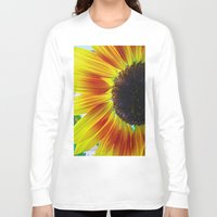 sunflower Long Sleeve T-shirts featuring Sunflower by Frankie Cat