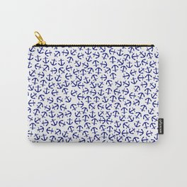 Maritime Anchors pattern- blue anchor on white background #Society6 Carry-All Pouch