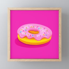 Pink Glazed Donut Framed Mini Art Print