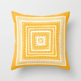 bright orange patterned square Throw Pillow