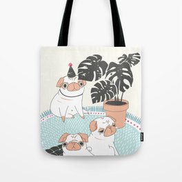 Pugs with tropical plants Tote Bag