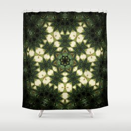 Emerald // Visionary Art Mandala Psychedelic Trippy Soul Consciousness Meditation Energy Healing Shower Curtain
