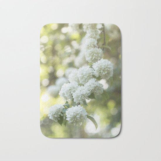 White Hydrangea at beautiful backlight- Flowers Floral Bath Mat