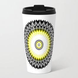Black and Yellow Kaleidoscope Sunburst Travel Mug