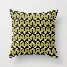 Mid Century Modern Diamond Pattern 584 Black and Olive Green Throw Pillow