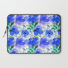 Big Blue Watercolour Painted Floral Pattern Laptop Sleeve