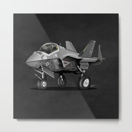 F35 Fighter Jet Airplane - F-35C Lightning II Joint Strike Fighter Cartoon Metal Print