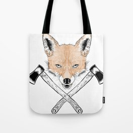Axe Fox Illustration Tote Bag