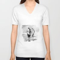 girls V-neck T-shirts featuring girls by Cardula
