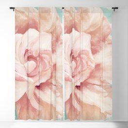 Petals Impasto Mint Blackout Curtain