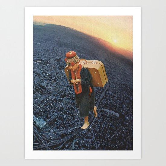 little boy with a big burden Art Print