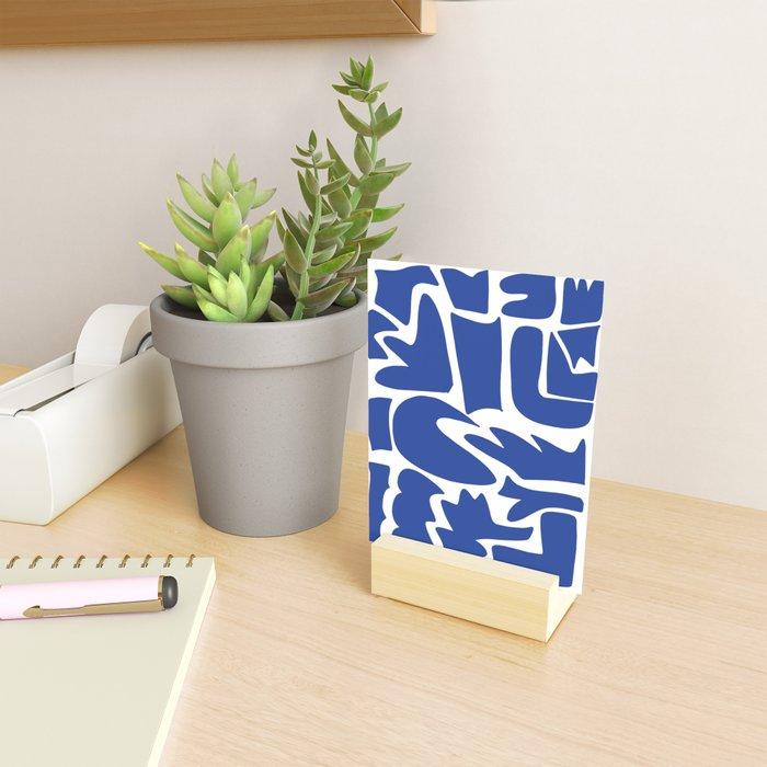 Blue shapes on white background Mini Art Print