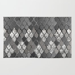 Mermaid Scales Silver Gray Glitter Glam #1 #shiny #decor #art #society6 Rug