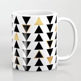 Geometric Triangle Print - Black White and Gold Coffee Mug