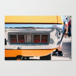 Back light of a yellow car Canvas Print