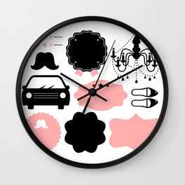 Set of vintage design elements Illustration ( pink and black ) Wall Clock