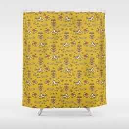 Cute Yellow Garden Flower Birds on Branch Shower Curtain