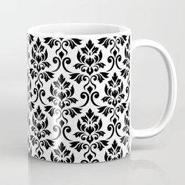 Feuille Damask Pattern Black on White Coffee Mug