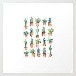 Cactus and Pineapples Art Print