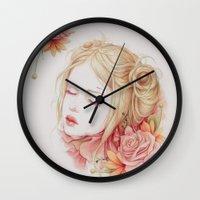 matty healy Wall Clocks featuring Atonement by Jennifer Healy