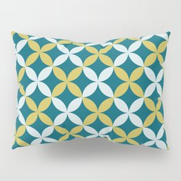 Dark Teal, Pale Blue and Dark Yellow 4 Leaf Minimal Flower Petal Pattern Inspired by Sherwin Williams 2020 Trending Color Oceanside SW6496 Pillow Sham