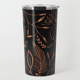 Holiday Pattern in black background and rose leaves Travel Mug