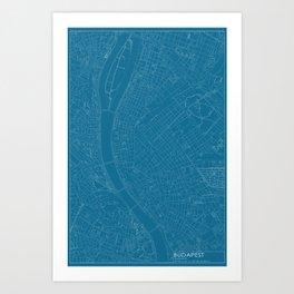 Budapest, Hungary, city map, Blueprint design Art Print