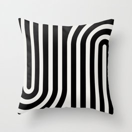 Minimal Line Curvature - Black and White III Throw Pillow