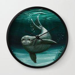 """Hawaiian Monk Seal"" by Amber Marine ~ Acrylic Painting, (Copyright 2015) Wall Clock"