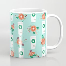 Coffee lovers mint floral bouquet gift idea for sbucks fan java pattern kitchen food Coffee Mug