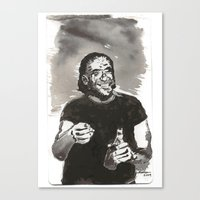 bukowski Canvas Prints featuring Bukowski by Hosho McCreesh