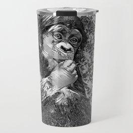 AnimalArtBW_Chimpanzee_20170605_by_JAMColorsSpecial Travel Mug