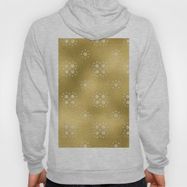 Merry christmas- white winter stars on gold pattern I Hoody