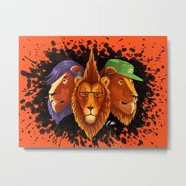 Hipster Lion Trinity Metal Print