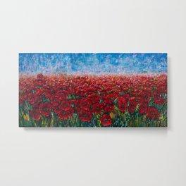 Poppy Field Palette Knife Painting By OLena Art Metal Print